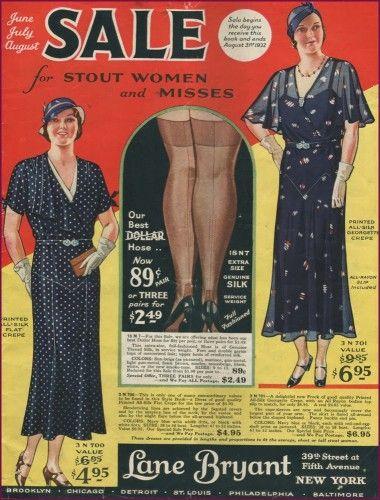 3098ab2f2e783 1930- Lane Bryant Sale Catalog for plus size 1930s clothing #plussize  31930sfashion