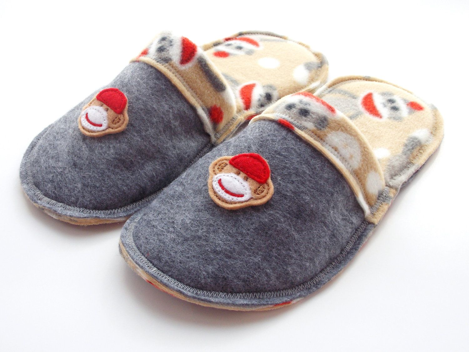 Teen Sock Monkey Slippers Childrens Clothing House shoes scuffs ...
