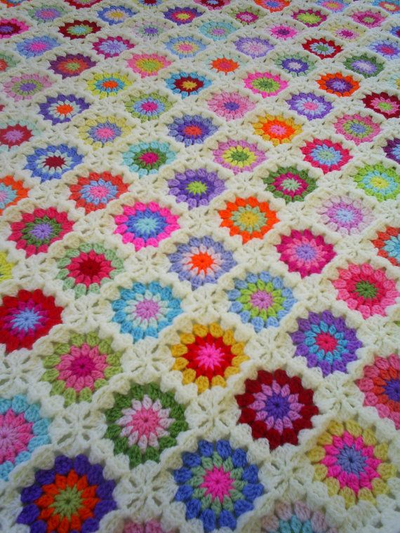 colorful crochet granny square blanket by handmadebyria on Etsy, $325.00