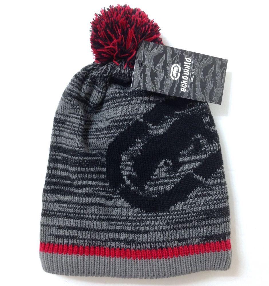 f166d578b NEW Men/Women ECKO UNLTD POM BEANIE Gray Red Big Rhino Winter Knit ...