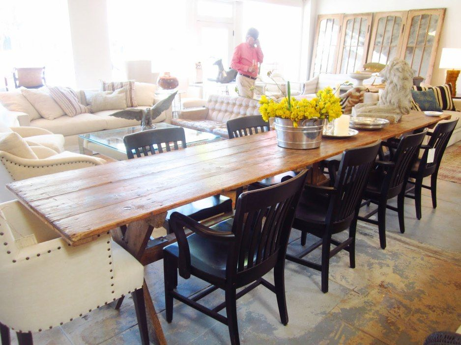 Wooden Chairs Upholstered Gray Unique Shape With A Long Table On