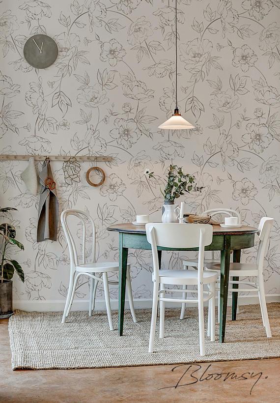 Removable Wallpaper Sketched Flowers Wallpaper Floral Etsy Scandinavian Dining Room Dining Room Inspiration Dining Room Design
