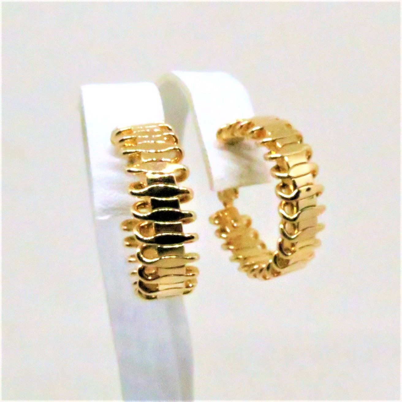 Signed Sarah Coventry Faux Pearl Gold Tone Half Hoop Earrings