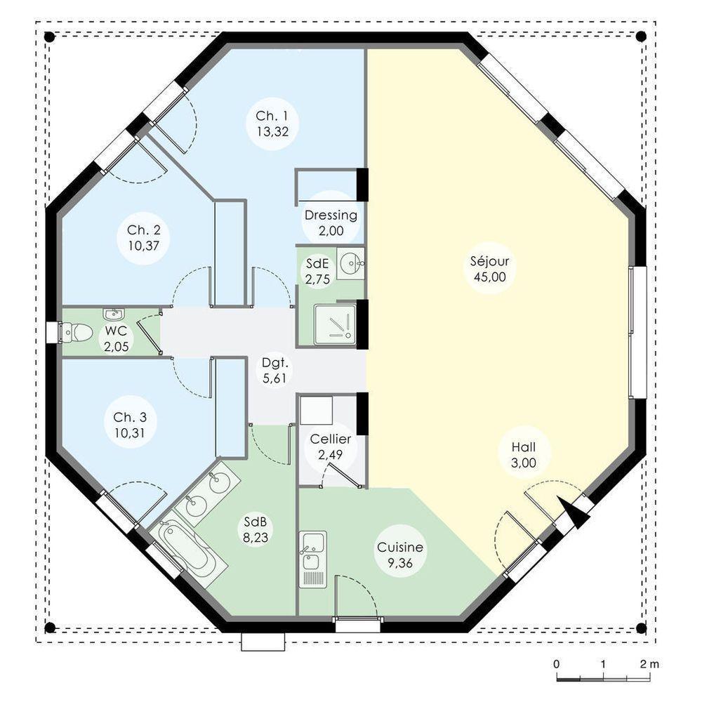 Découvrez Les Plans De Cette Une Maison Octogonale Originale Sur Www. Construiresamaison.com U003e