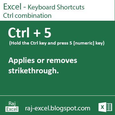 Raj Excel Excel Keyboard Shortcuts Ctrl + 5 excel formulas