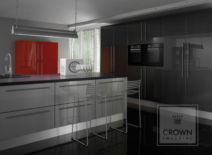 Best Grey High Gloss Crown Imperial Kitchen High Gloss 640 x 480