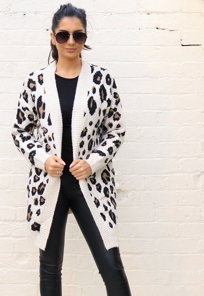 dde41eef78bf Premium Two Tone Leopard Print Soft Chunky Knit Long Cardigan in Cream