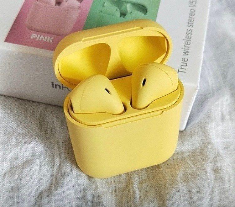 Earpods Bluetooth Yellow Charge Box Mercari Earbuds Headphone With Mic Wireless Bluetooth