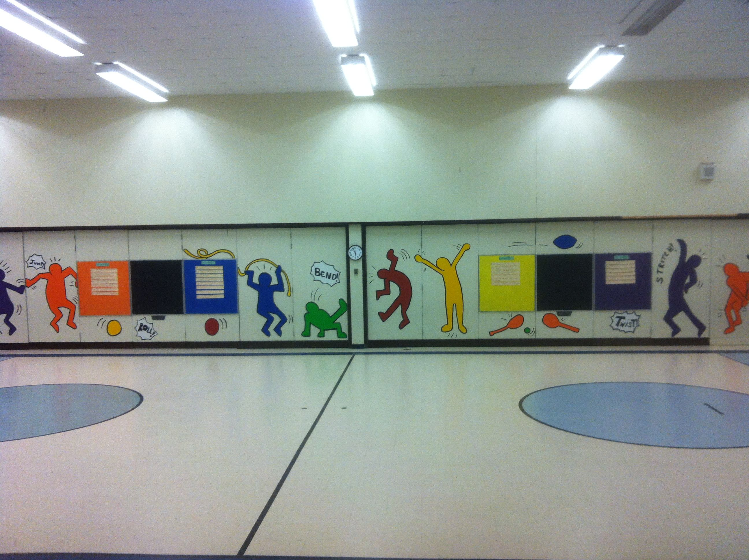 Easy Wall Mural In Gym Using Pe Standard Words Brightens Up And
