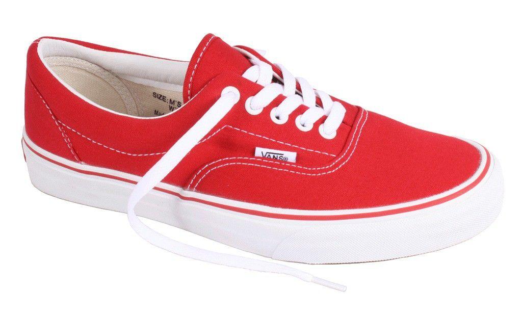 vans rojas y blancas