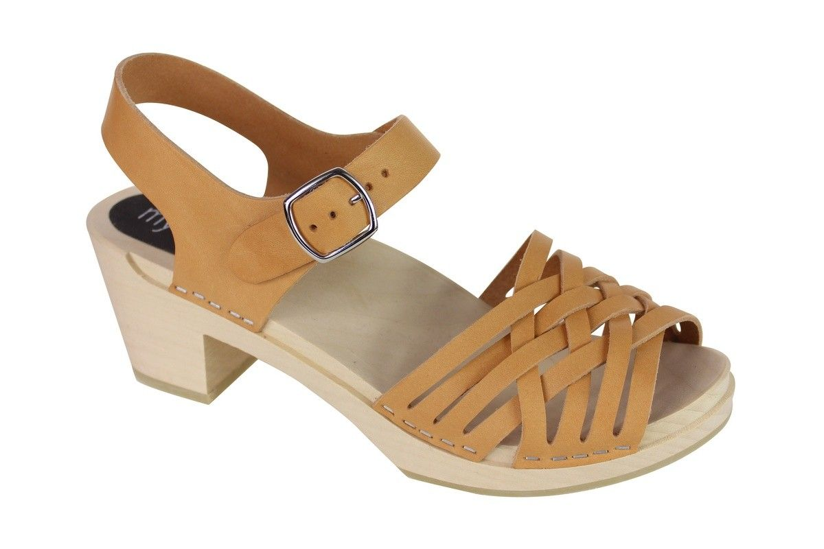 MyClogs Matilda High Heel Braided Wooden Clogs in Natural, Italian, Chrome Free, Vegetable Tanned Leather.