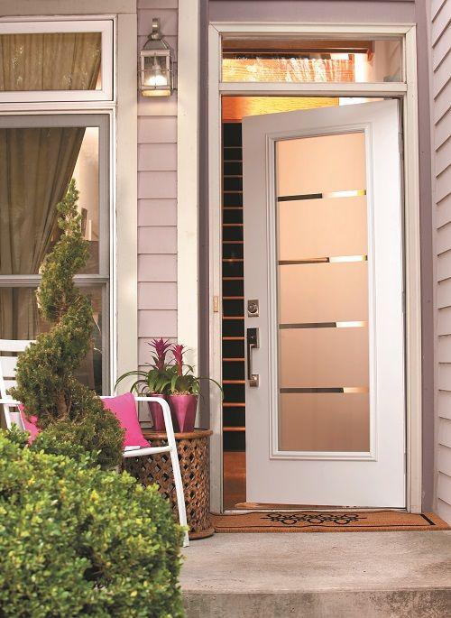 Express Your Appreciation For Contemporary Design With A Crosslines Door Glass Four Clear Strips Etched Throu Glass Front Door Front Door Entryway Door Design