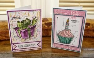InvisiblePinkCards: Birthday Blueprint card set. Two of the four cards in my Tim Holtz Birthday BluePrint card gift set. by kris