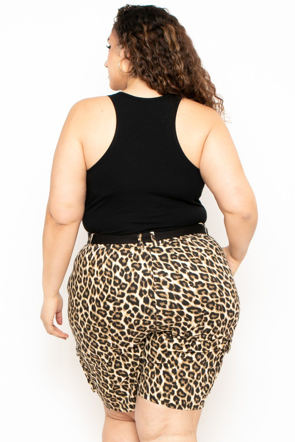 Plus Size Leopard Cargo Bermuda Shorts - Tan (With images ...