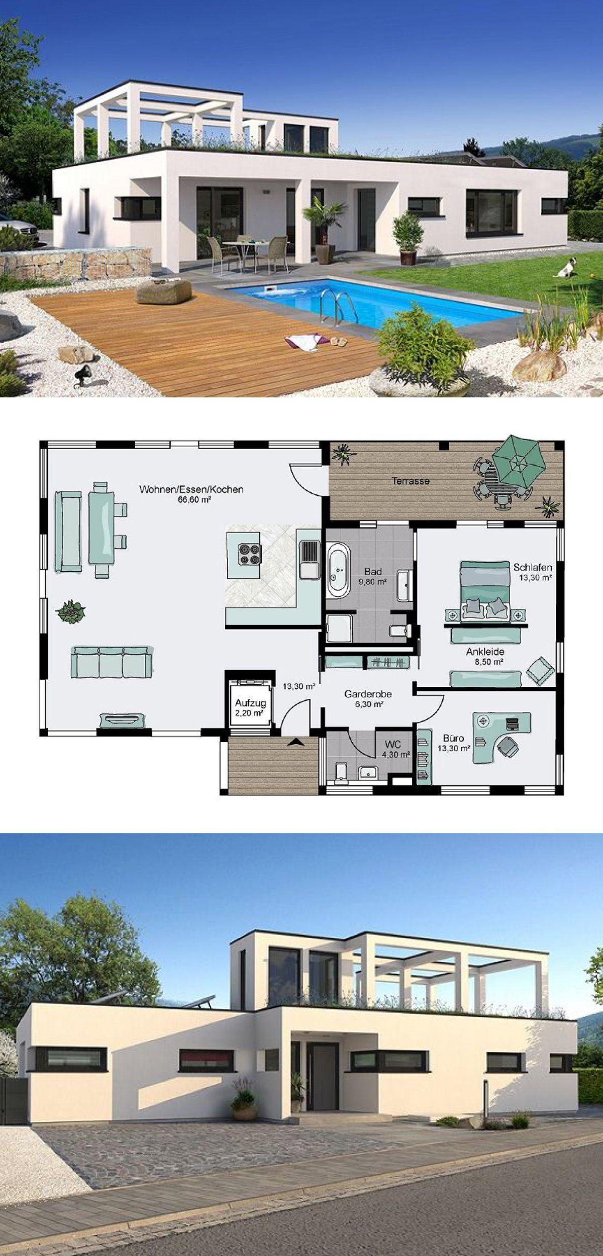 flachdach bungalow mit bauhaus architektur grundriss. Black Bedroom Furniture Sets. Home Design Ideas