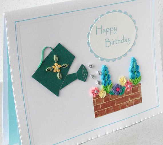 Quilled birthday card, handmade quilling