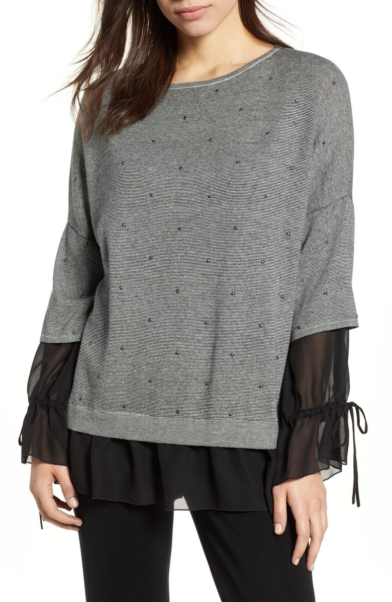 Free shipping and returns on Ming Wang Tie Cuff Tunic Top at