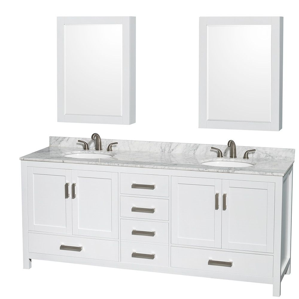 "Wyndham Collection Sheffield 80"" Double Bathroom Vanity Set With Endearing Bathroom Cabinet Reviews Design Ideas"