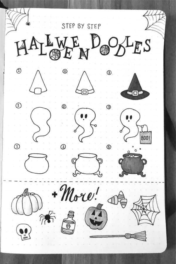 Best Bullet Journal Doodle Ideas For Halloween & F
