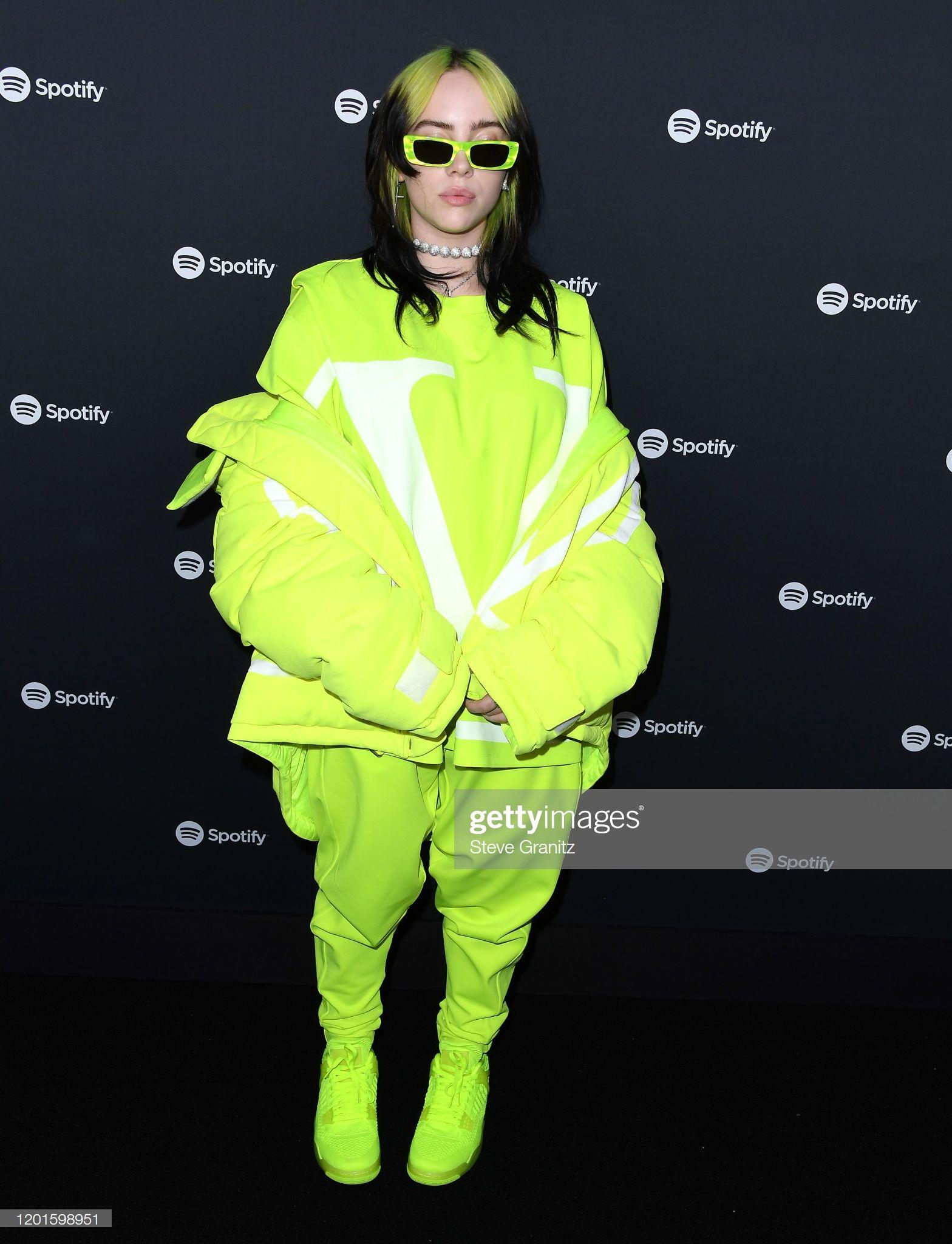 Billie Eilish arrives at the Spotify Best New Artist 2020