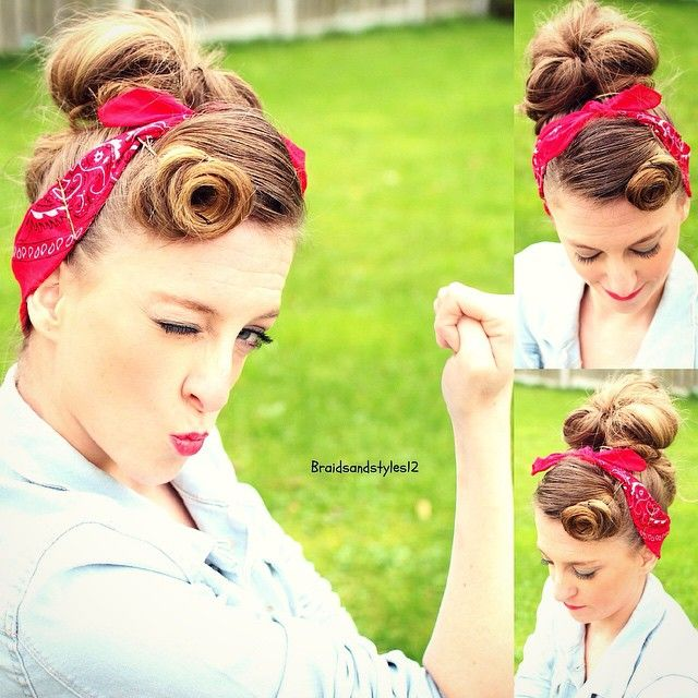 rosie the riveter hair style rosie the riveter cutegirlshairstyles hairstyles 2061 | cb096a00f2ea461c2b08ea5a978a2b27