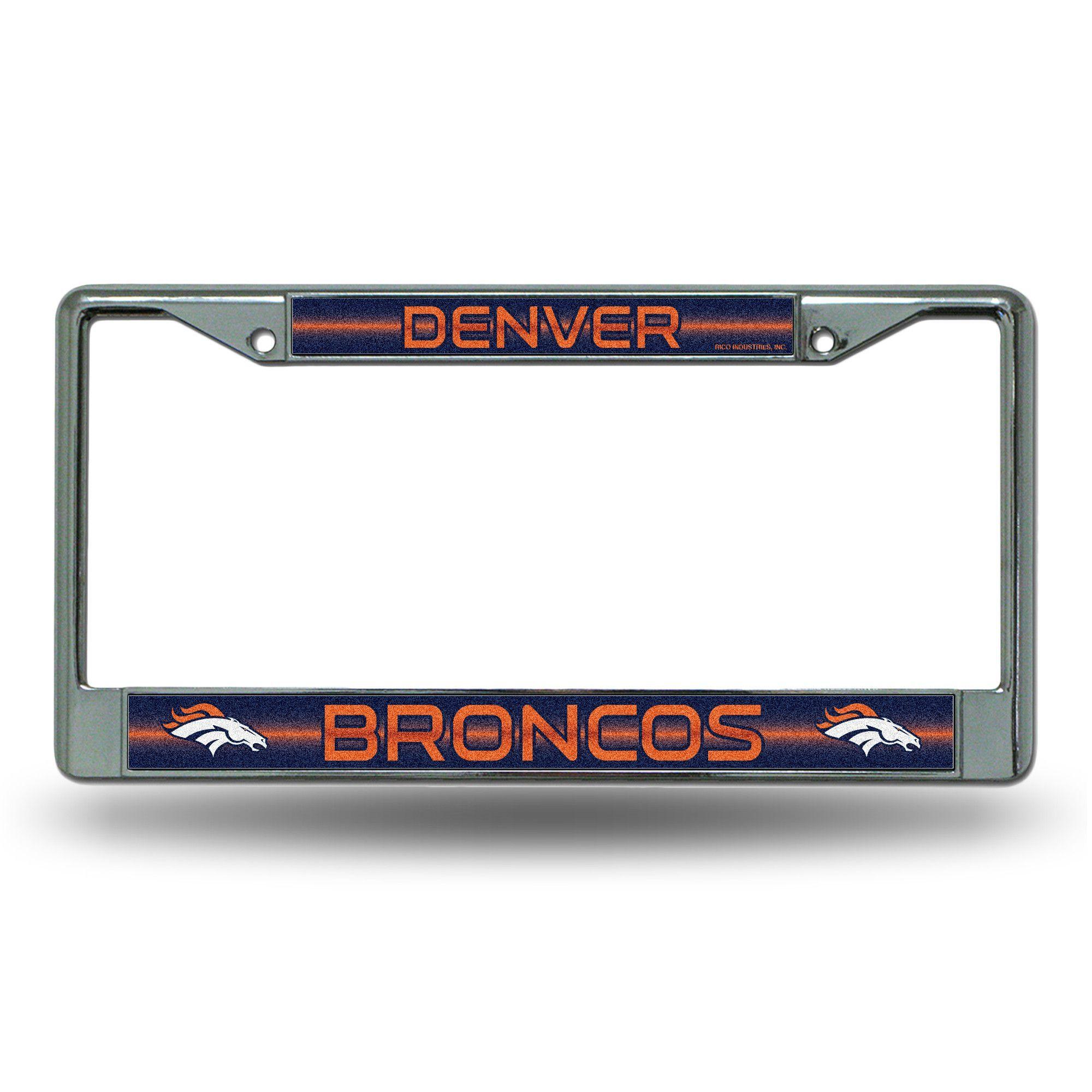 NFL Denver Broncos Bling Glitter Chrome License Plate Frame | Nfl ...