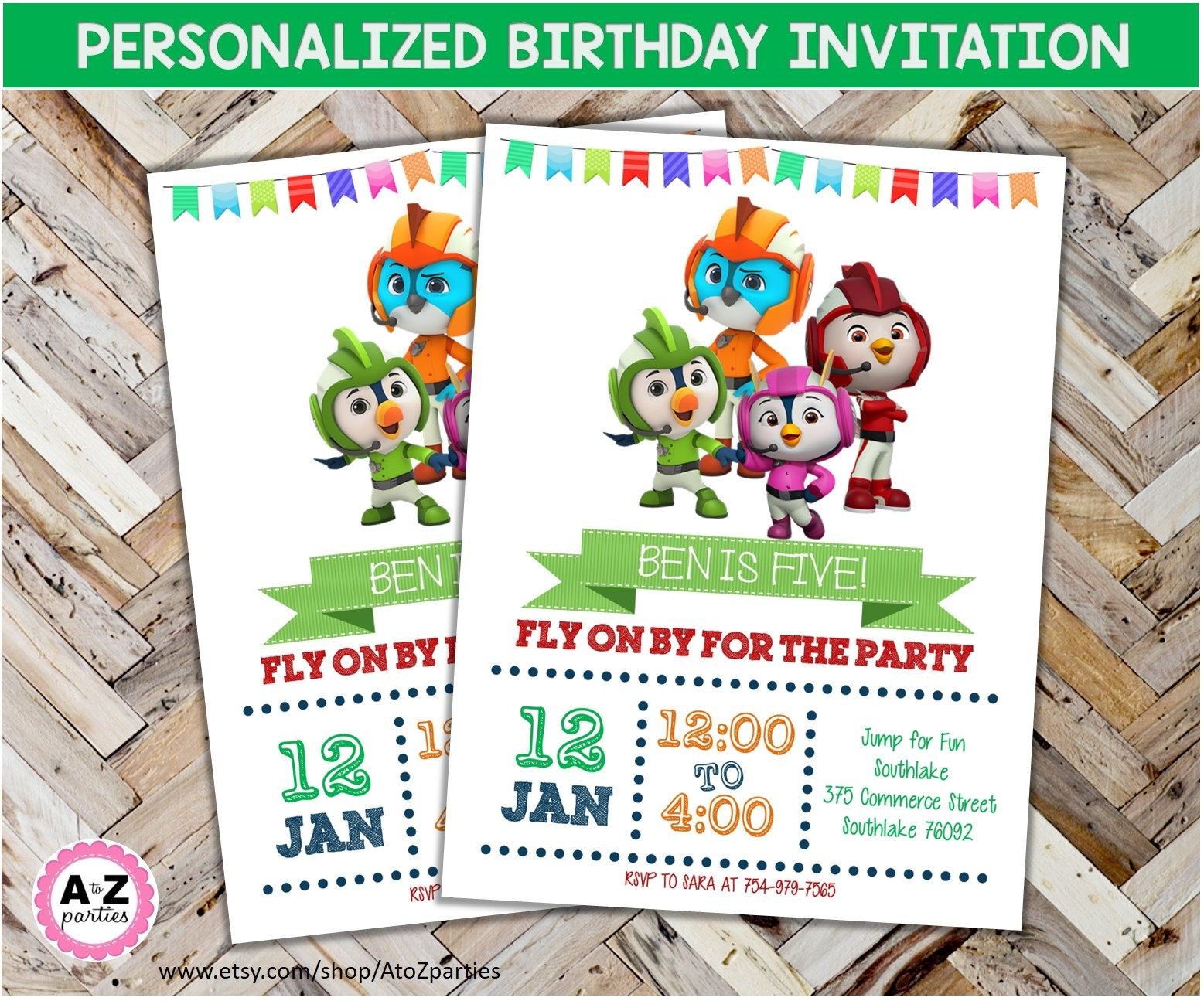 top wing personalized party invitation 5x7 print at home new