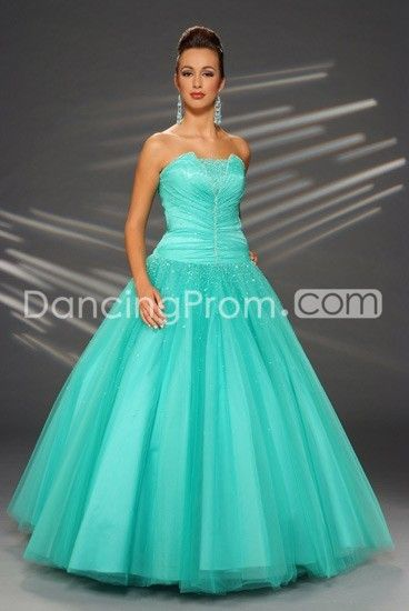 Tulle Beaded Strapless Rouched Bodice with Floor Length Ball Gown ...