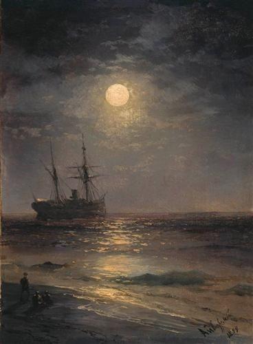 """Ivan Konstantinovich Aivazovsky, (1817-1900). """"Lunar night""""."""