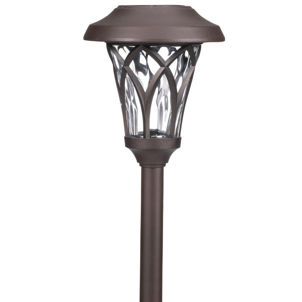 Hampton Bay Solar Bronze Outdoor Integrated LED Landscape Fan Cage ...