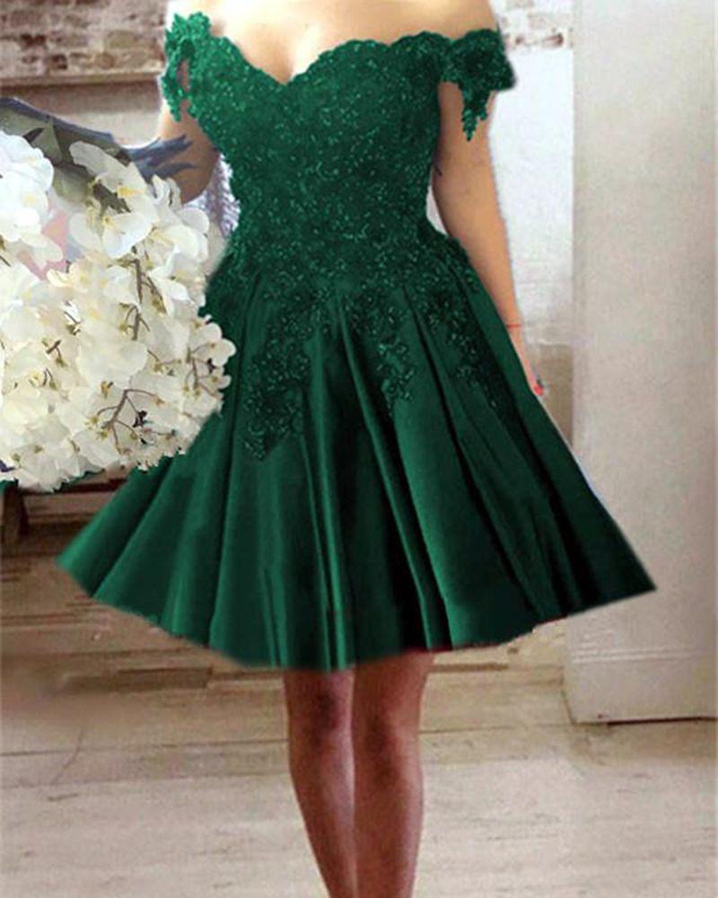 Blueredgreen lace off the shoulder short prom dresses