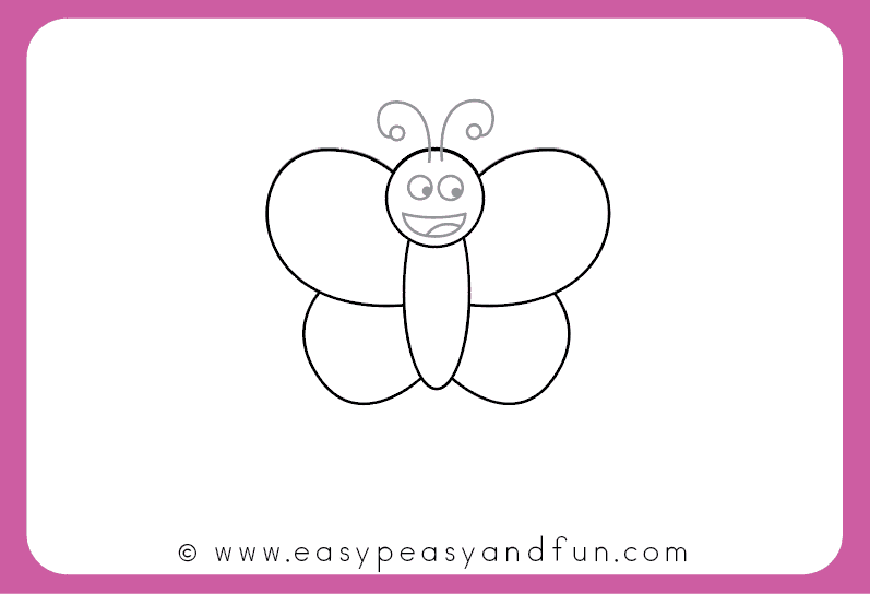 How To Draw A Butterfly Step By Step For Kids Printable Easy Peasy And Fun Butterfly Drawing Easy Butterfly Drawing Simple Butterfly