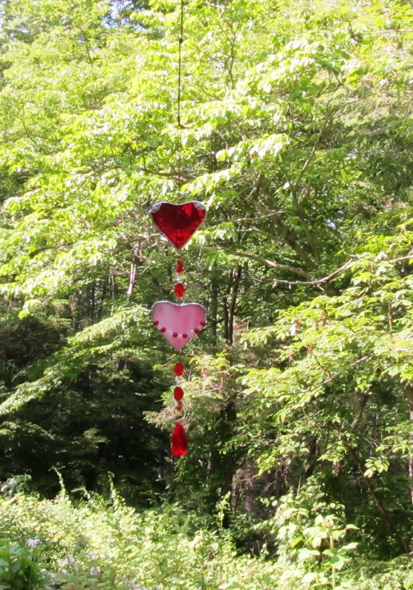 Glass yard art  glass heart sun catcher red glass suncatcher beaded sun catcher