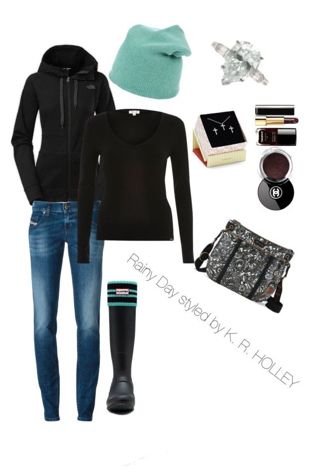 """""""Rainy day styled by ME"""" by clhwifey on Polyvore featuring The North Face, Diesel, Hunter, MV Maglieria Veneta, Sugar Bean Jewelry, Tiffany & Co., River Island, Sakroots and Chanel"""