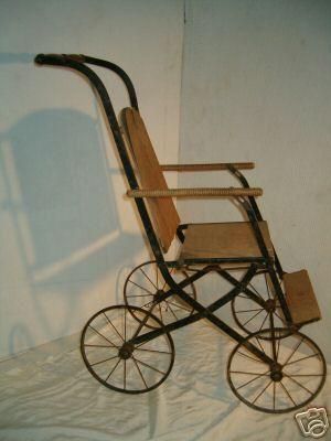 1890 Baby Stroller Wood Amp Steel Rare Unusual Antique