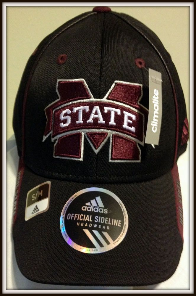 MISSISSIPPI STATE BULLDOGS ADIDAS CLIMALITE EMBROIDERED ADULT S/M FOOTBALL CAP #adidas #MississippiStateBulldogs