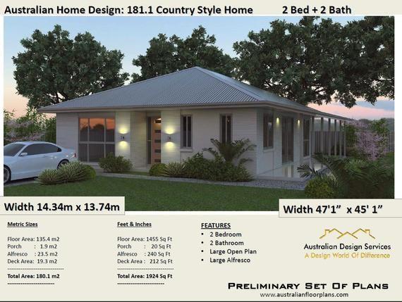 2 Bedroom House Plans Australia | 180m2 | 1924 Sq.Ft ...