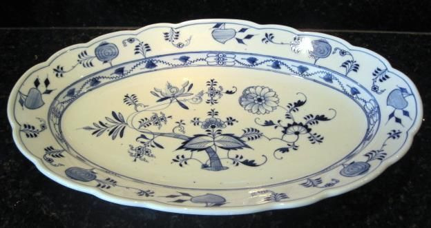 "Great Turkey Platter Blue Onion Oval Platter Teichert Mark 19""  #TeichertErnst #Turkey"
