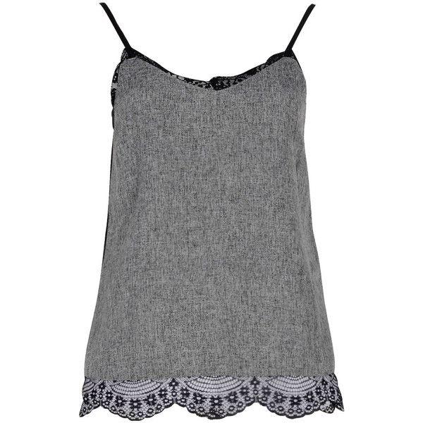 Boohoo Natacha Tweed Eyelash Lace Back Cami ($24) ❤ liked on Polyvore featuring tops, tanks, shirts, tank tops, cami tank, sleeve shirt, cami tank tops, cami tops and flat top