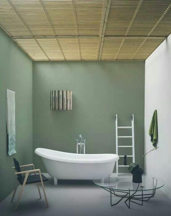 Verde salvia rilassante inspiration pinterest colori - Pareti colorate bagno ...