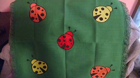 Upcycled Green Linen Placemats set of 2 with Ladybugs Hand