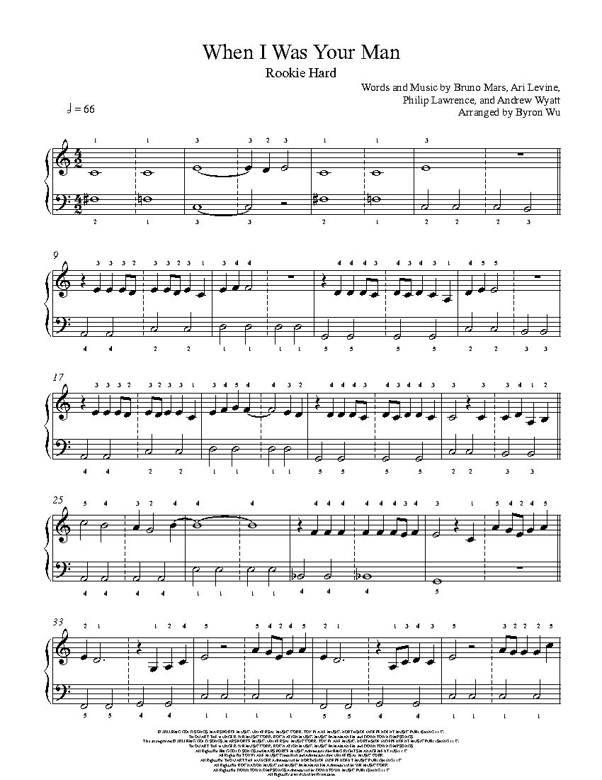 When I Was Your Man By Bruno Mars Piano Sheet Music Rookie Level