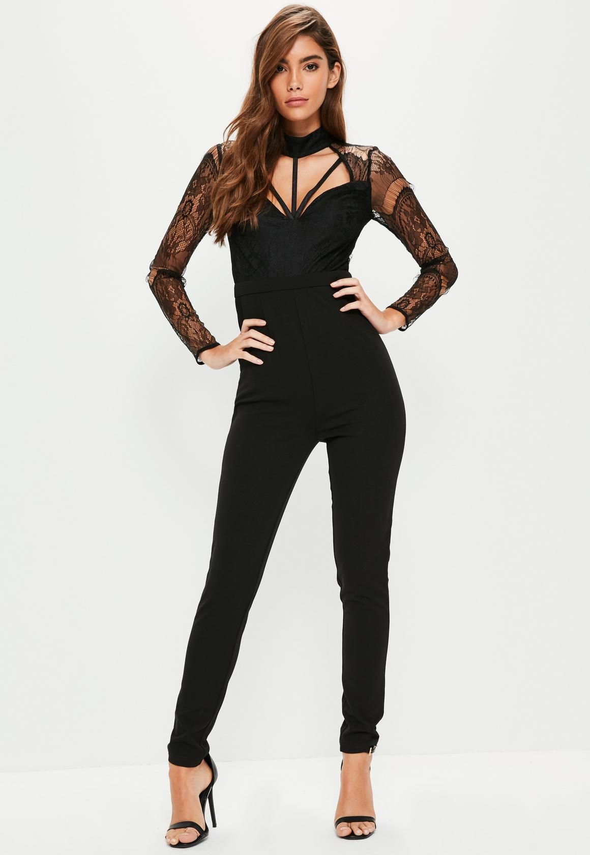 quality products undefeated x another chance Black Harness Lace Long Sleeve Jumpsuit | robes en 2019 ...