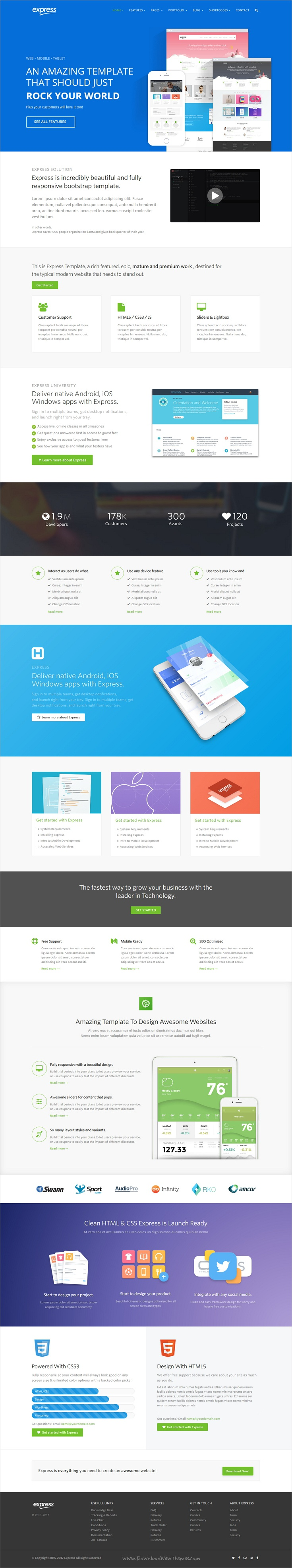 Express is clean and modern design #bootstrap template for ...