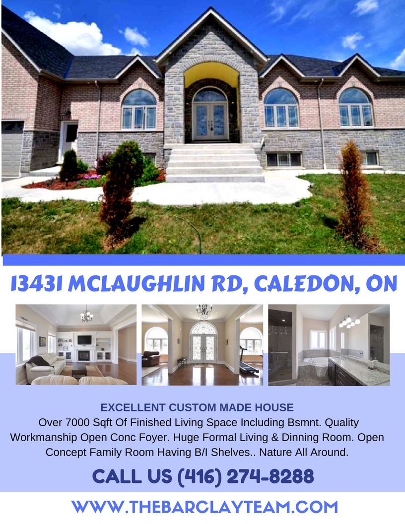 """""""Excellent Custom Made House"""" Over 7000 Sqft Of Finished Living Space Including Bsmnt. Quality Workmanship Open Conc Foyer. Huge Formal Living & Dinning Room. Open Concept Family Room Having B/I Shelves. Inviting Kitchen With Tall Cabinets & Granite Counter Tops. 5 Bedrooms With All Ens. Washrooms. Fin. Bsmnt Divided Into Two Sections. One For 2Br Nanny Suite And Other For Own Use. Enjoy The Brampton Flight Club From Your Backyard. Nature All Around. PRICE: $1,699,900 Call Us: (416) 274-8288"""