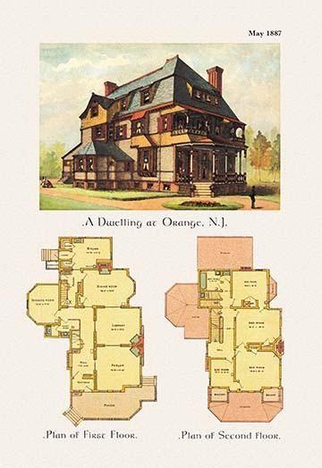 A Dwelling At Orange New Jersey Vintage House Plans Victorian House Plans Architecture Blueprints