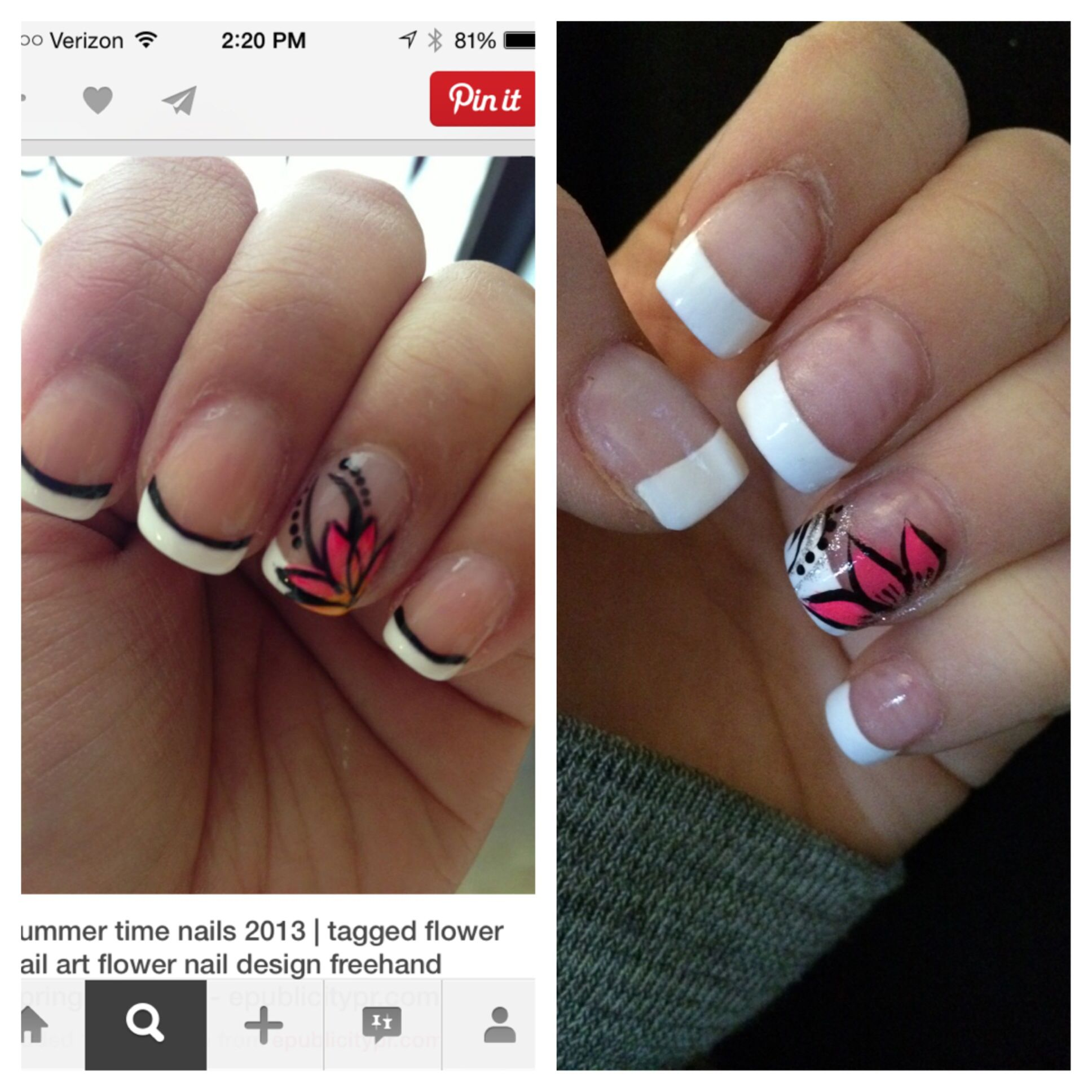 French manicure with flower accent nail. | Pinterest inspired nails ...