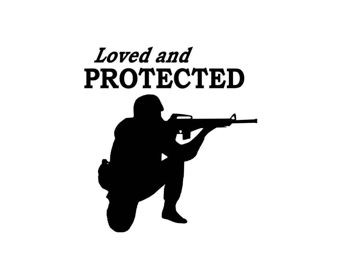 Love And Protected Soldier Sticker Soldier Military Spouse Custom Decals [ 941 x 1200 Pixel ]