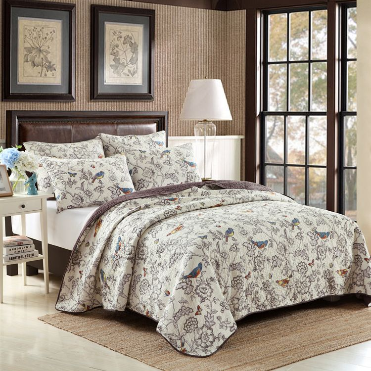 Adult American flower u0026 birds quilt cover