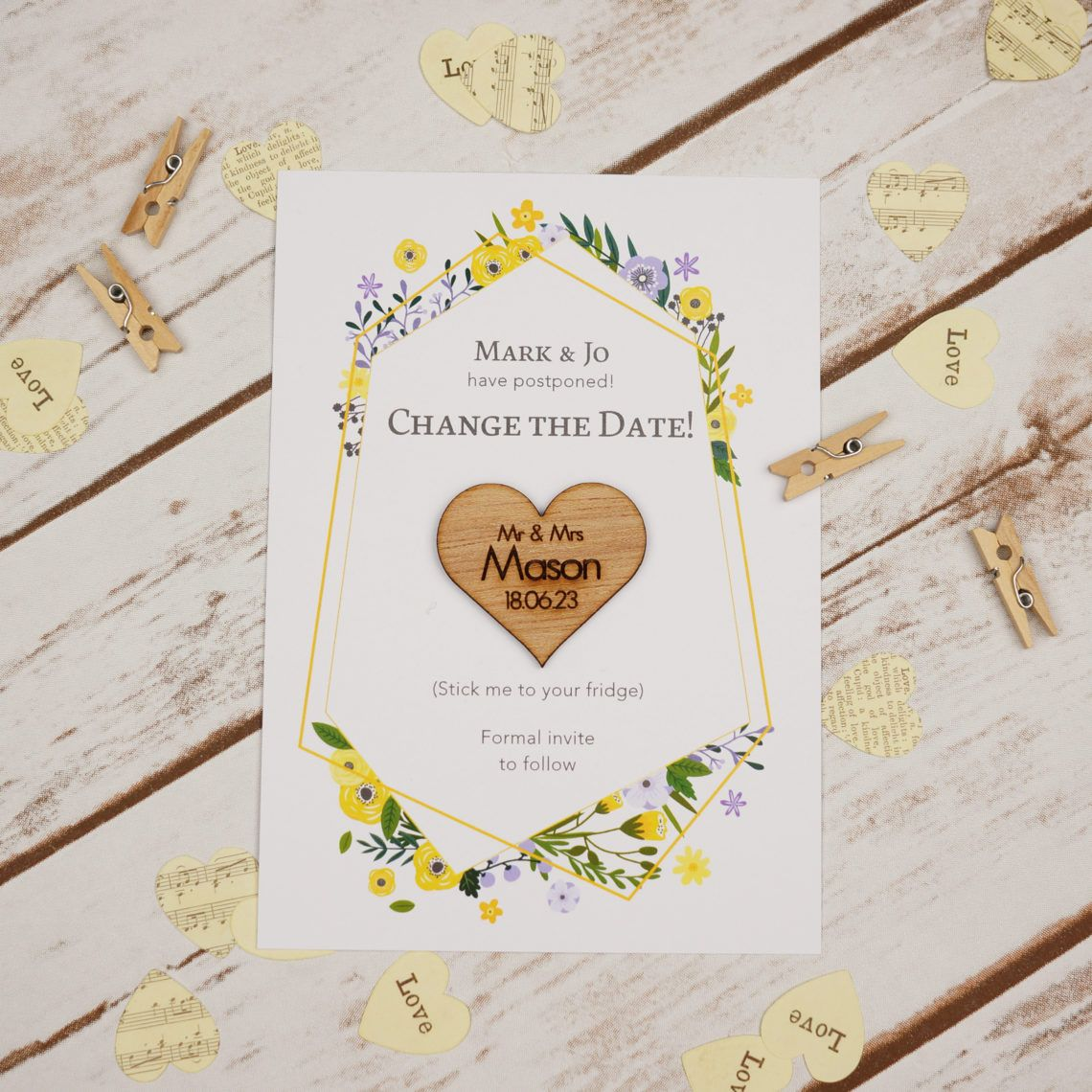 Floral Geometric Save/Change the Date Cards with